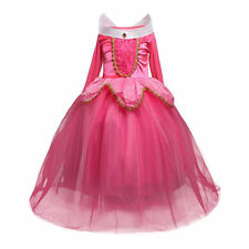 Pink Girls Aurora Princess Costume Sleeping Beauty Fancy Dress Outfit Ages 2-8