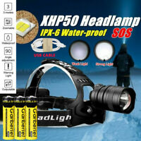 Ultra Bright XHP50 LED Headlamp Zoom USB Rechargeable Headlight Torch Powerful
