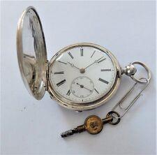 1895 ARGENTO CON MONTANTE Full Hunter CILINDRO orologio tasca in ordine di lavoro