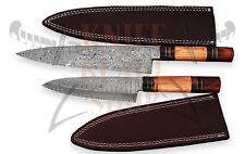 2 piece set of Damascus steel BLADE KITCHEN KNIVES/CHEF KNIVES ROSE& OLIVE WOOD
