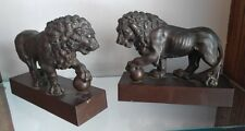 "GORGEOUS PAIR OF BRONZE LION GRANDE TOUR LG 8 "" BOOKENDS BEAUTIFUL PATINA C-1880"