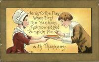 Thanksgiving - Pilgrim Man & Woman Pumpkin Pie HBG Griggs c1910 Postcard