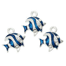 3 pieces Pendants Dangle Charms Silver plated Fish jewelry findings DIY C99