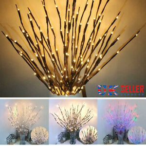 20 LED Branch Twig Lights Light Up Willow Tree Branches Christmas Decor 77cm HOT