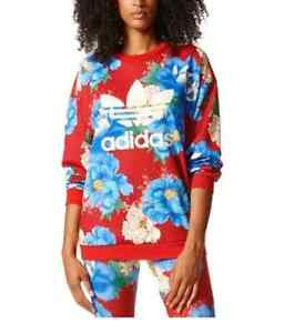 Adidas Originals x FARM Chita Print Sweatshirt Floral Red Sweater Women's Size S