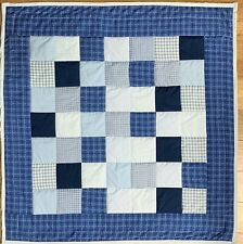 "Baby Quilt Handmade Boys Blue Plaid Patchwork Crib Blanket 40""x40"" NEW"
