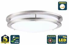 CORAMDEO 10 Inch LED Satin Nickel Ceiling Flush Mount Light Gives 100W of Light