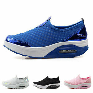 Womens Casual Mesh Jogging Running Walking Sneakers Slip-On Loafers Pumps Shoes
