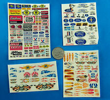 HO SLOT CAR Waterslide DECALS,FORD Edelbrock Champion Skulls Goodyear FLAMES