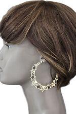 Women Fashion Earrings Set Big Gold Black Metal Geometric Charm Dangle Big Hoop