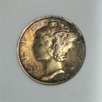 1921-P Mercury Dime ANACS VF 30, Awesome Toning! Low Mintage & KEY DATE    A-561