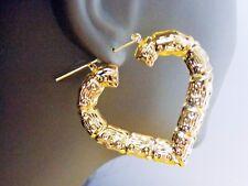 BAMBOO EARRINGS HEART HOOP EARRINGS 2 INCH HOOP FULL ON BOTH SIDES