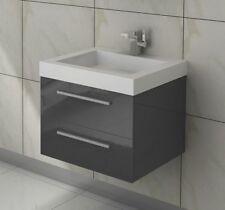 Waschtisch 60 cm Badmöbel Set Unterschrank Waschbecken grau hochglanz