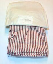 Restoration Hardware Vintage Ticking Stripe Bed Skirt Cotton Twin Red NEW $69