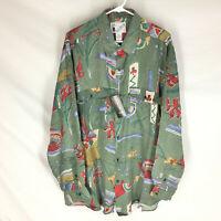 GOOUCH Mens XL Long Sleeve Shirt Silk Button Up 90s Abstract Art VTG NEW