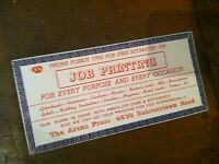 Vintage TRADE CARD  REISTERSTOWN ARENA PRESS  COMPANY     11SEPT19