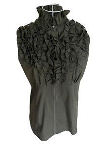 Debbie Shuchat Women's Blouse Top Size 14 Khaki Green Ruffled Full Zip