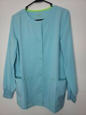 New ScrubStar Women's Button Front Scrub Jacket Size Small Green Sage Pockets
