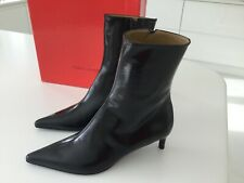 CHARLES JOURDAN BLACK LEATHER STILETTO BOOTS BRAND NEW IN BOX SIze EU 7
