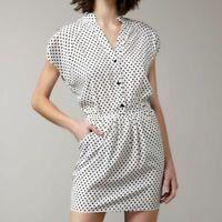 Alice + Olivia Womens White Silk Polkadot Dress Size Small Vintage Inspired