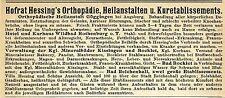 Hofrat Hessing Göggingen ORTHOPÄDISCHE HEILANSTALT Historische Reklame von 1905