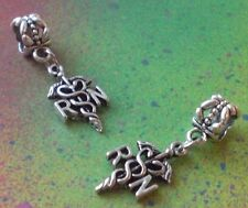 Silver Tone RN Caduceus Dangle Bead Fit European Charm Bracelet - 1 Piece - NEW