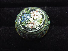 Antique Italian Micro Mosaic Round Pin Fabulous Craftsmanship Great Condition