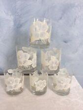 Vtg Hibiscus Glasses Tastesetter Old Fashioned Glass Set of 6 Low Ball Tumbler