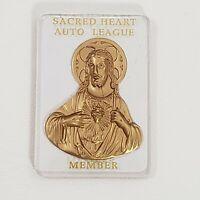 "Sacred Heart Auto League Member Religious Acrylic Medallion Dash Plaque 2.5"" Vtg"