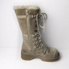 Aldo Cream Suede Leather Lace Up Winter Tall Boots Women Size 38 Euro Sz 7.5US