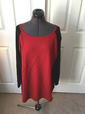 SUSAN GRAVER Deep Red & Black Long Sleeve Crew Neck Sweater 2X New w/ Tag