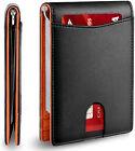 Minimalist Slim Wallet for Men with Money Clip RFID Blocking Front Pocket Purse