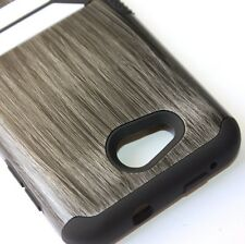 Kyocera Hydro Wave / Air - HARD & SOFT RUBBER HYBRID SKIN CASE GRAY WOOD PATTERN