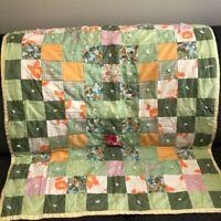 """Vintage 60s Handmade Patchwork Quilt 34""""x40"""" Crib Lap Green Orange Hand Tied"""