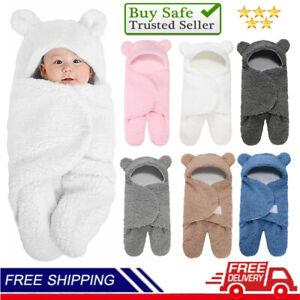 Newborn Sleep Warm Bags Teddy Bear Blanket Swaddle Baby Hooded Wrap 0-6Months