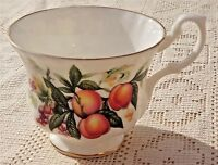 VINTAGE ROYAL ALBERT FINE BONE CHINA TEA CUP - FRUIT W/GOLD TRIM DESIGN***