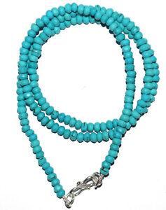 "925 Fine Silver 20"" Strand Necklace Sky Turquoise Gemstone Round 4.5mm Beads IK9"
