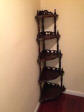 Solid Wood Corner Shelf With Artistic Design