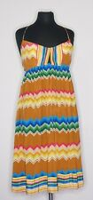 Plenty by Tracy Reese Women's Multicolor Zip Zag Stripe Halter Silk Dress sz 6