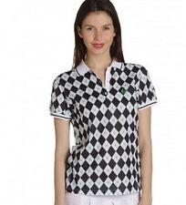 Sergio Tacchini Ladies Tennis shirt Argyle Diamond print Size 16 New $120RRP