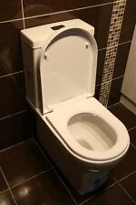 WHITE CERAMIC BACK TO WALL TOILET SUITE  SOFT CLOSE SEAT