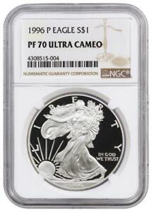 1996-P American Proof Silver Eagle One Dollar Coin NGC PF70 Ultra Cameo