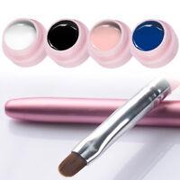 4Colors UV Gel Nail Polish Acrylic Color Painting Brush Black White Pink Blue