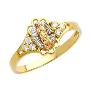 14K Solid Gold Fancy Virgen de Lady of Guadeloupe Maria CZ Fancy Religious Ring