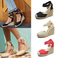 Womens Ladies Ankle Strap Espadrilles Lace Up Shoes Mid Heel Wedge Sandals Size