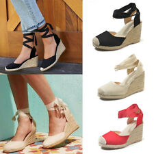 d965c0cf819b Womens Ladies Ankle Strap Espadrilles Lace Up Shoes Mid Heel Wedge Sandals  Size