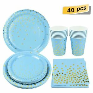 Disposable Party Tableware Set Gold Cups Plates Paper Napkins Wedding Birthday