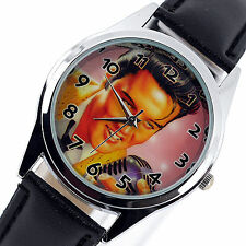 Elvis Presley Orologio Pelle in Acciaio Inox musica King legenda ROUND CD Watch e1