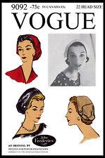 "BERET HAT CAP SEXY Designer JOHN FREDERICS Pattern VOGUE 9092 Fabric Sewing 22"""