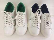 NIB Tory Burch Sport Chevron Leather Sneakers WHT Navy Green New 8.5 9.5 10 10.5